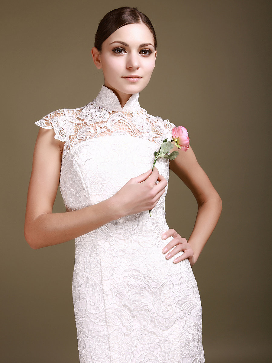 : a line cap sleeve wedding dress