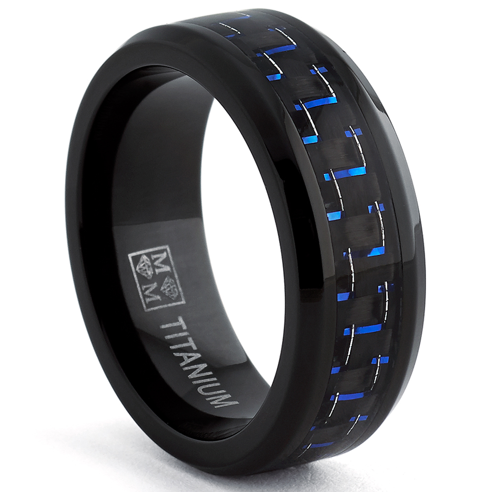 : black titanium mens wedding band