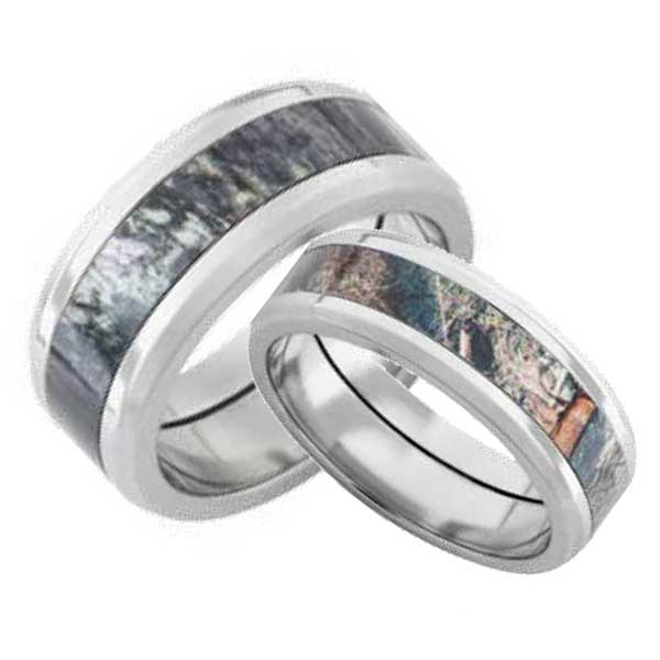 : camo wedding ring sets his and hers