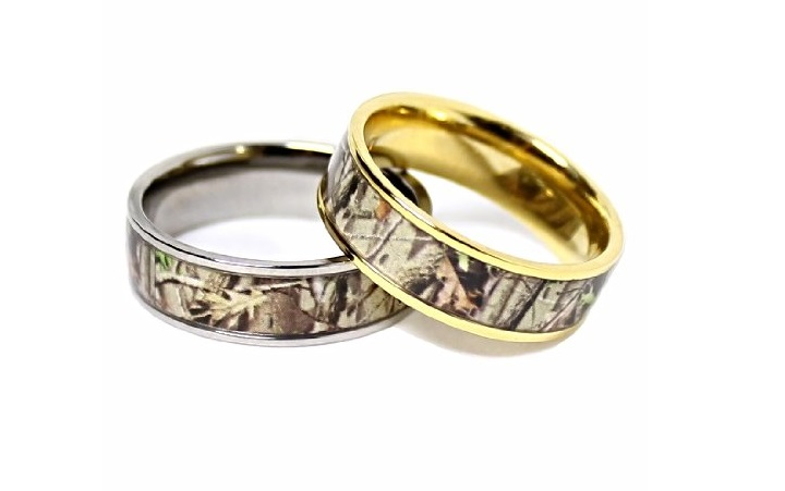 : camo wedding rings sets