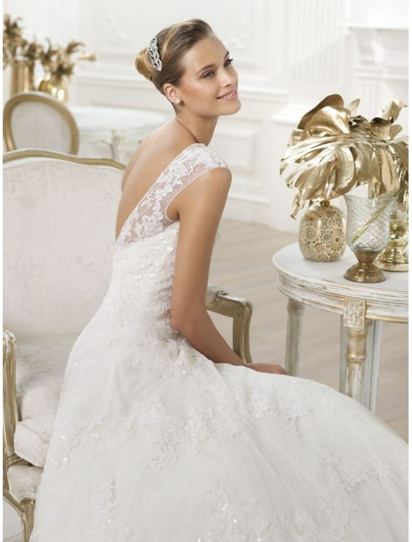 : cap sleeve lace wedding dress