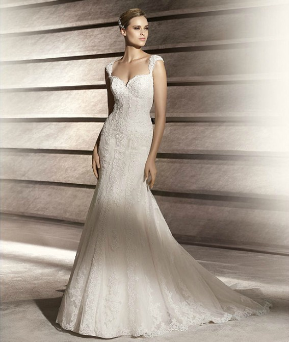 : cap sleeve wedding dress lace