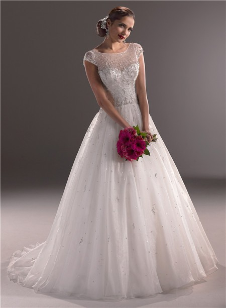 : cap sleeve wedding dress with illusion neckline