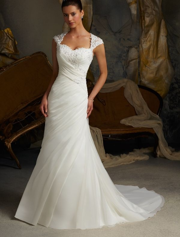 : cap sleeve wedding gown
