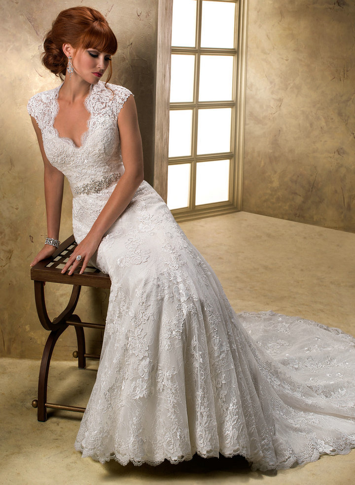 : cap sleeve wedding gowns