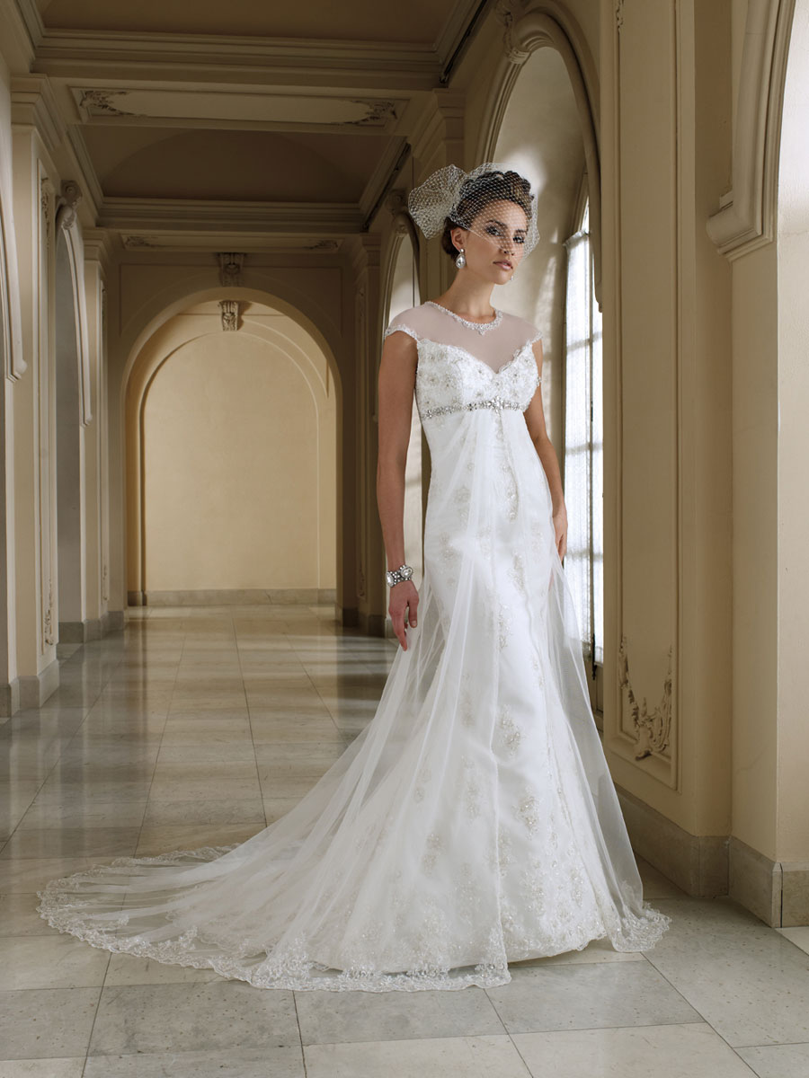 : cap sleeved wedding dress