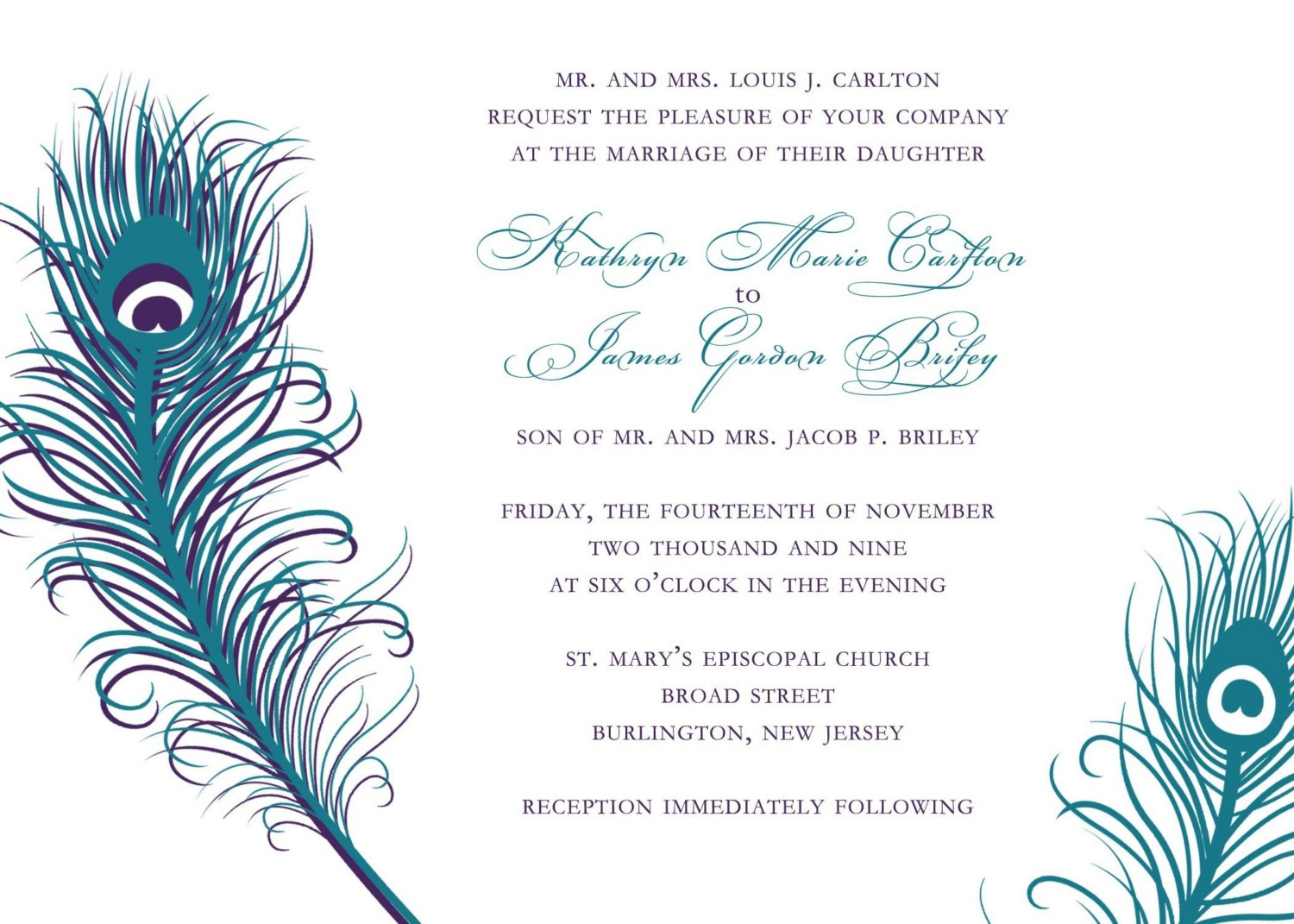 : elegant peacock wedding invitations