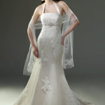 : hairstyles for halter top wedding dresses