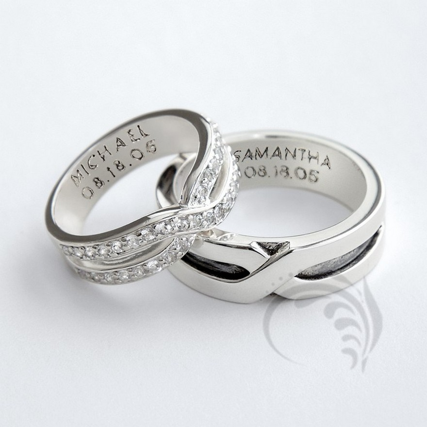 : his and hers trio wedding ring sets