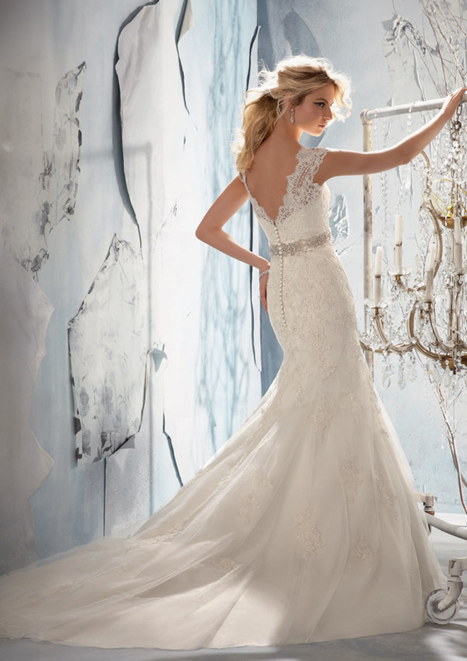 : lace bling wedding dress