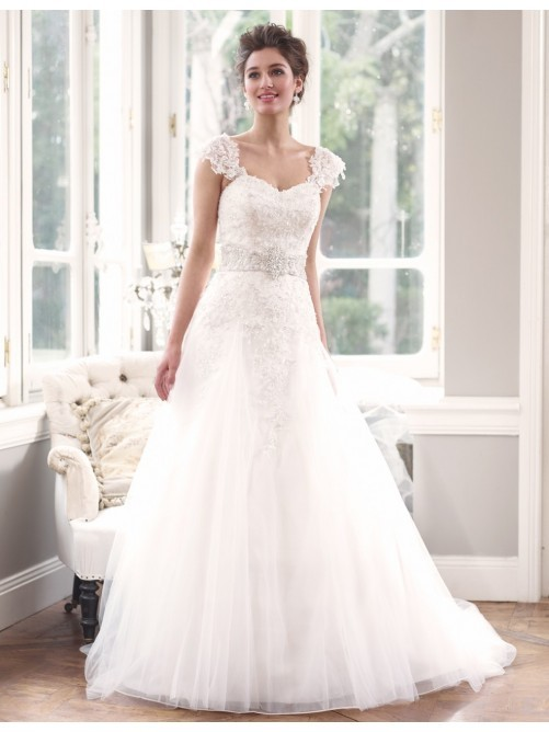 : lace cap sleeve wedding dress