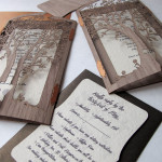 : laser cut tree wedding invitations