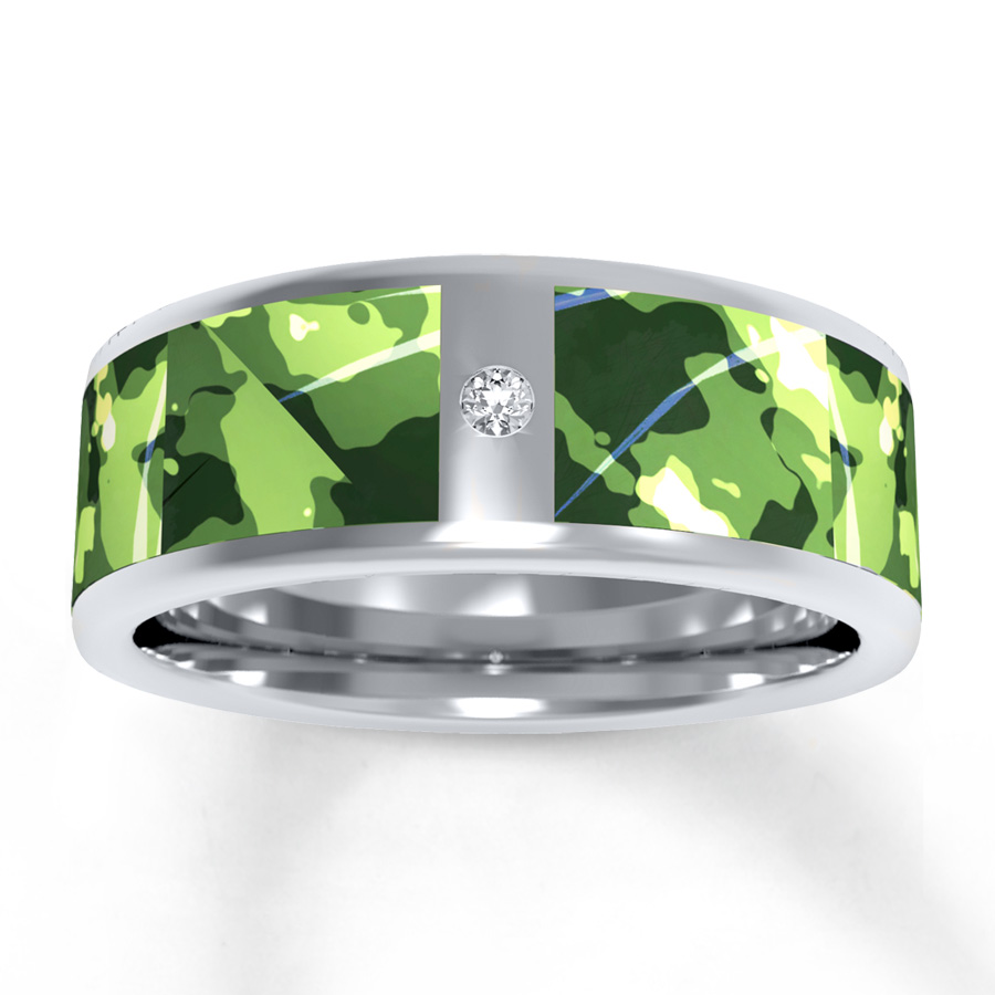 : mens camo titanium wedding bands