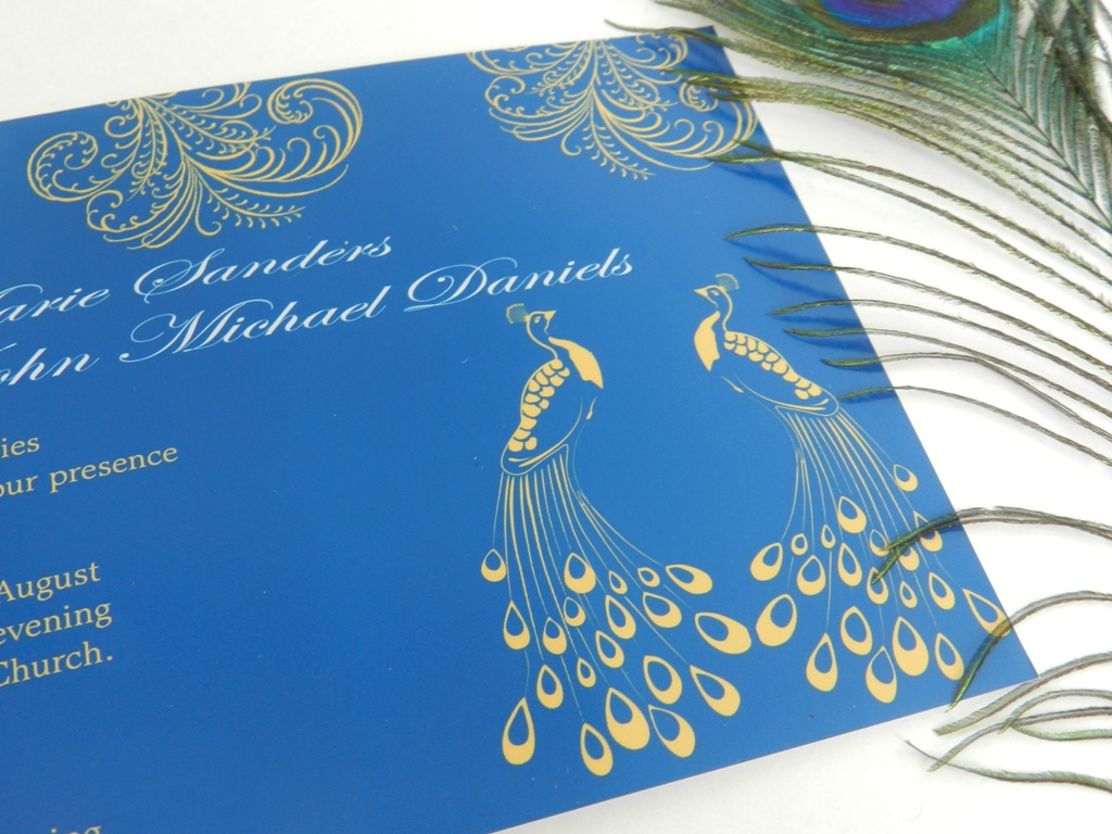 : peacock blue wedding invitations