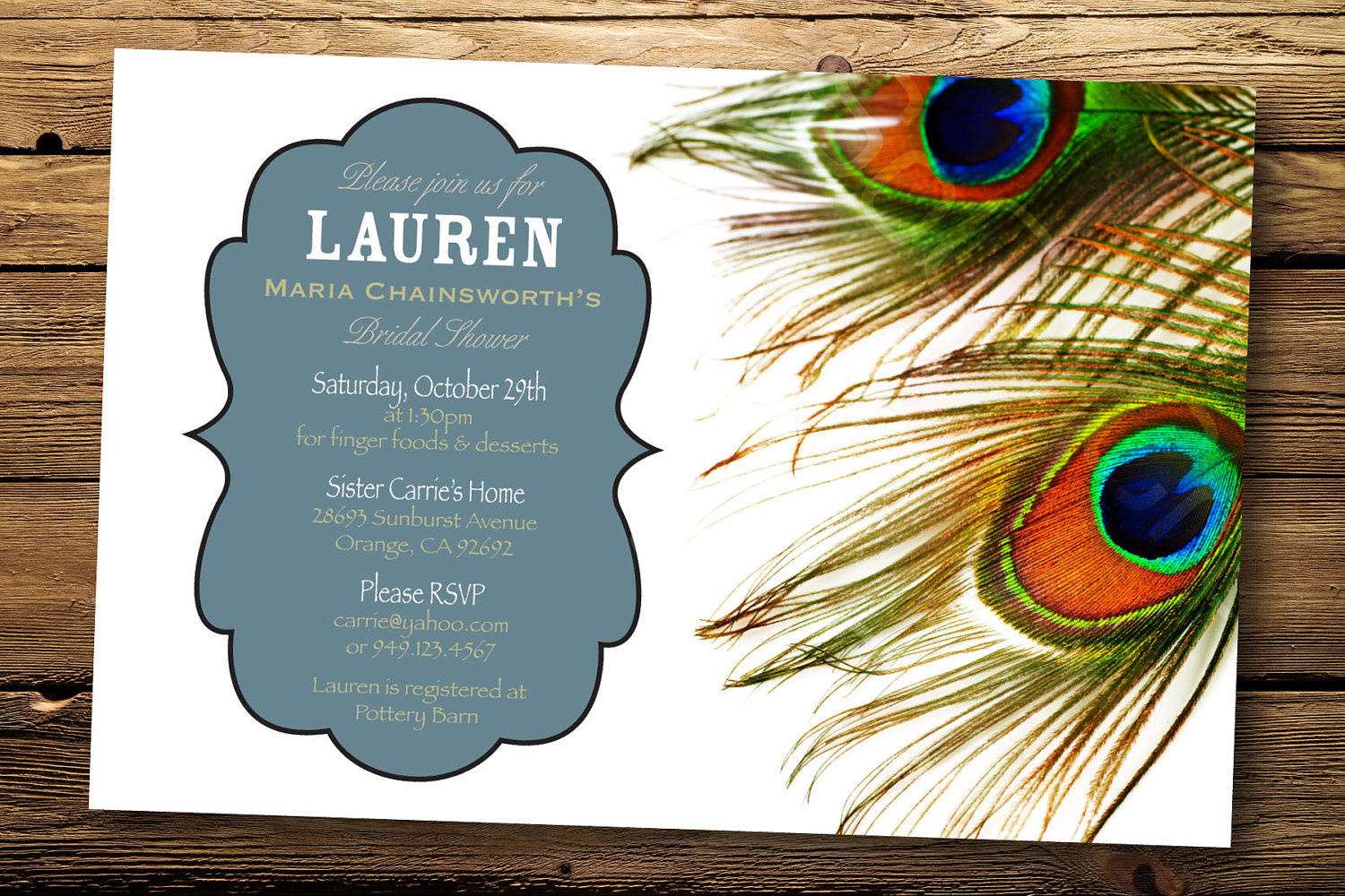 : peacock bridal shower invitations