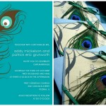 : peacock colored wedding invitations