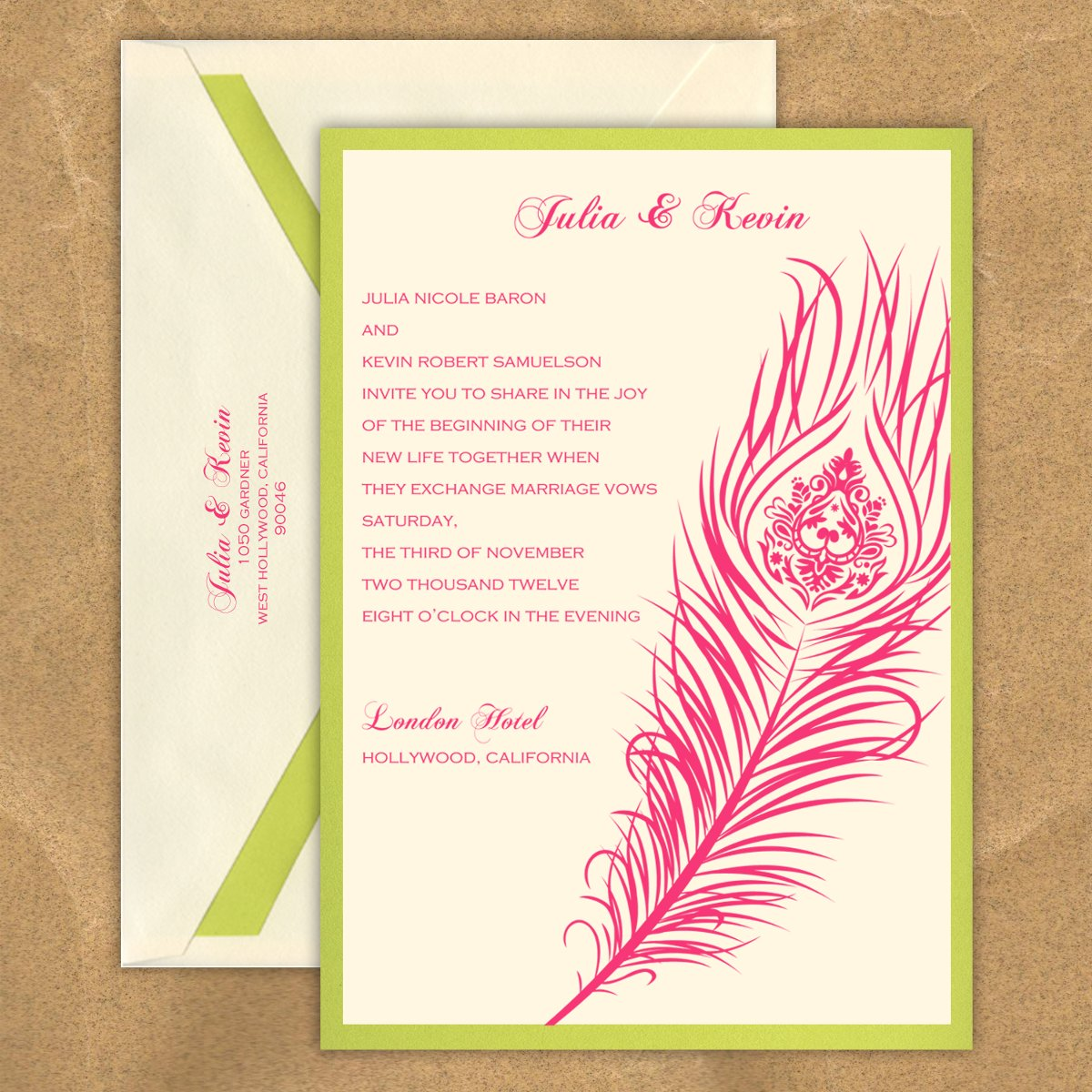 : peacock feather wedding invitation