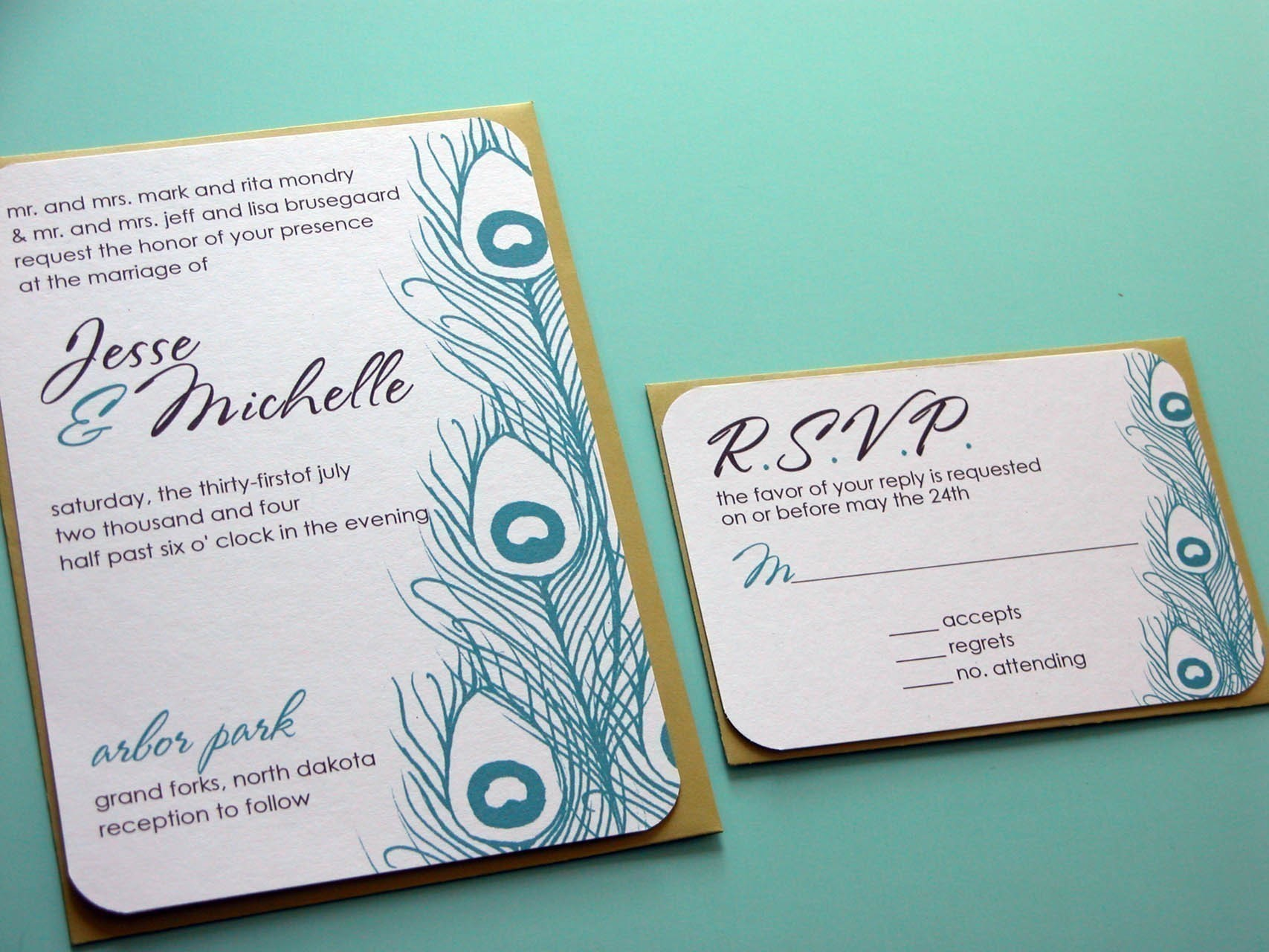 : peacock feathers wedding invitations