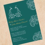 : peacock inspired wedding invitations