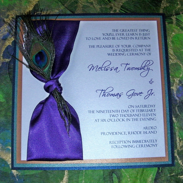 peacock wedding invitations with feather