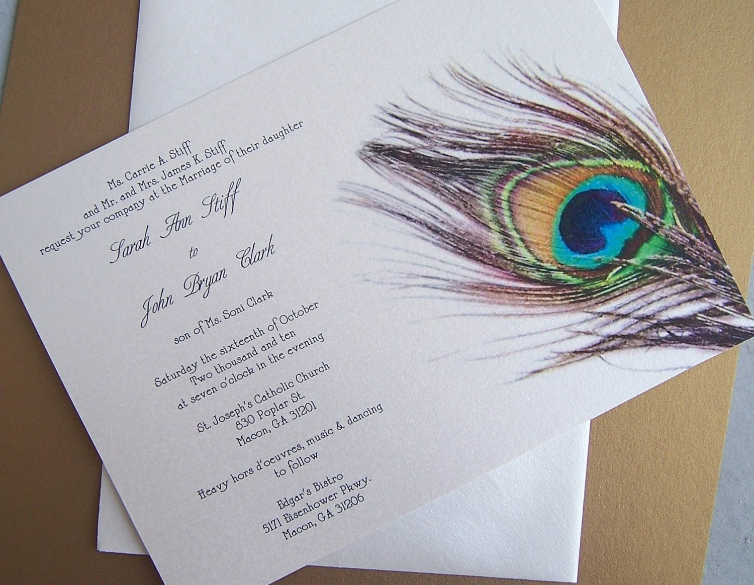 : peacock wedding invites