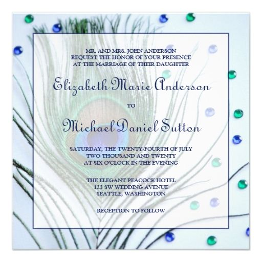 peacock wedding theme invitations