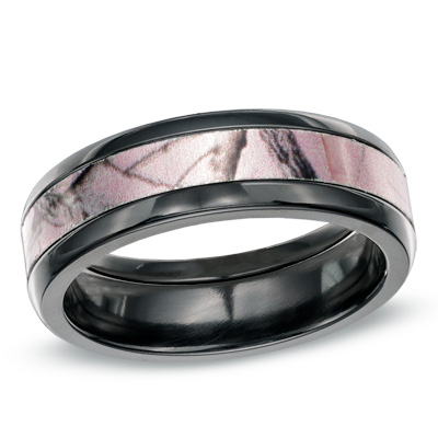 : pink camo wedding ring sets