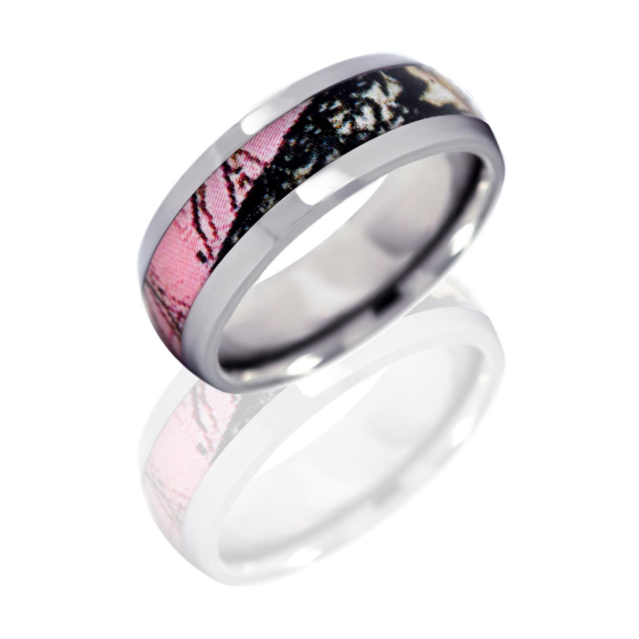: pink camo wedding rings