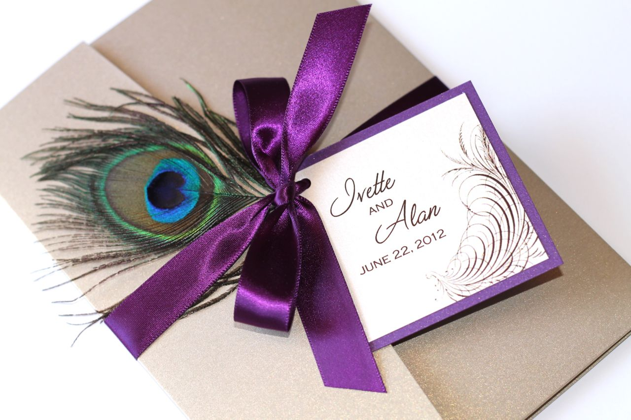 : purple peacock wedding invitations