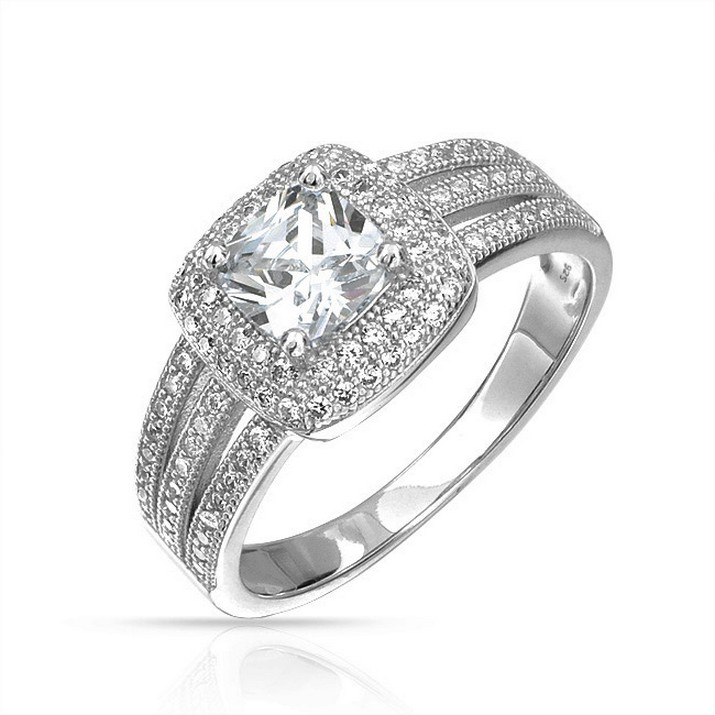 sterling silver cz wedding sets