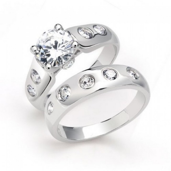 : sterling silver wedding ring set