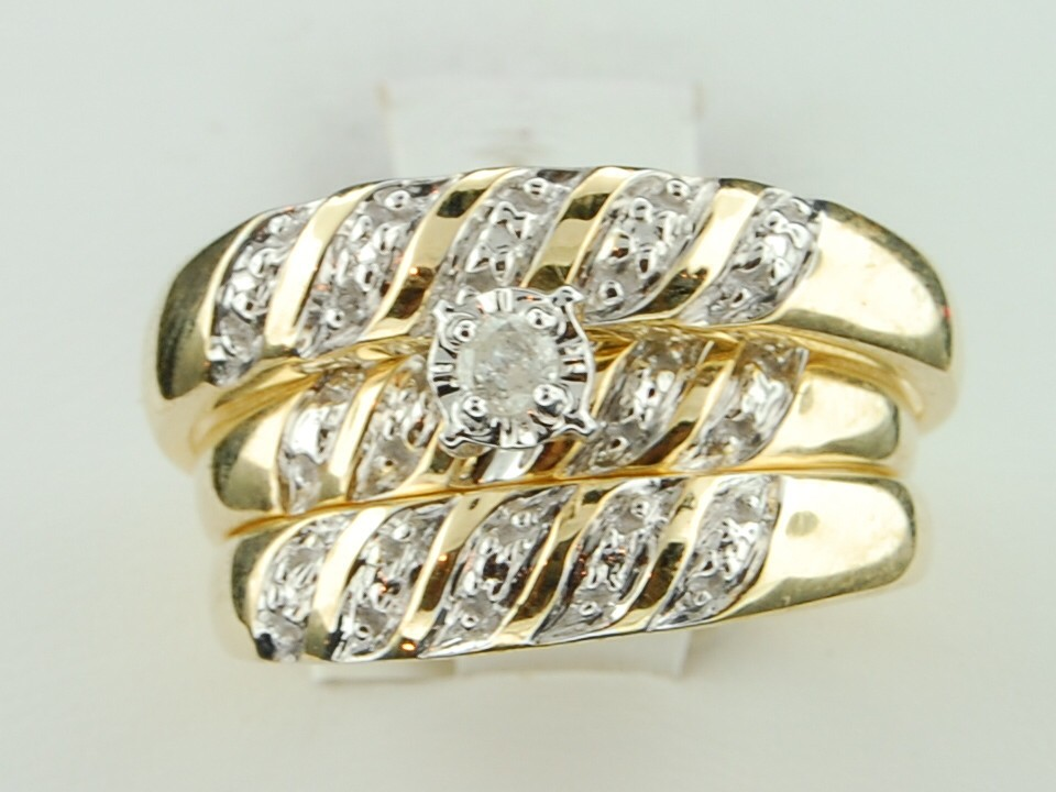 : trio wedding ring sets for cheap