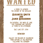 : wanted wedding invitations western