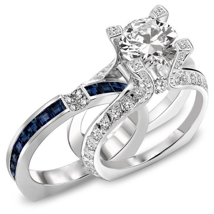 : wedding ring trio sets