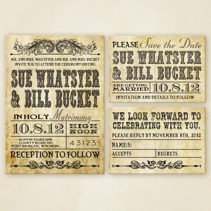 western wedding invitations