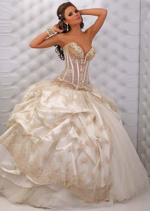 : white bling wedding dresses