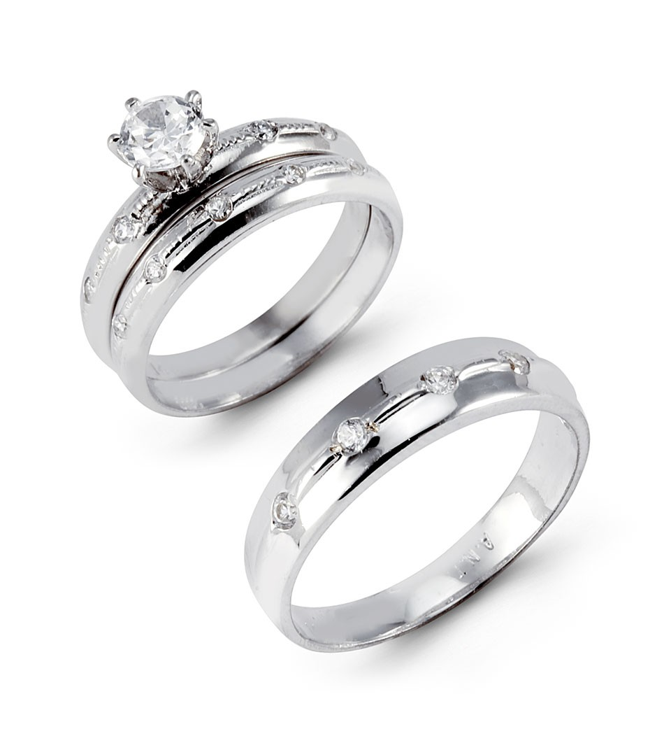 : white gold wedding ring sets