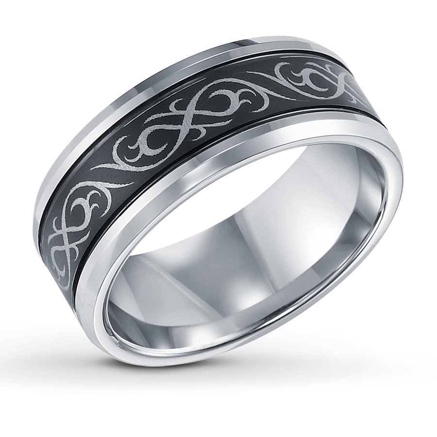 : white tungsten wedding bands
