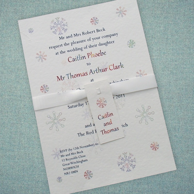 winter wedding invitations snowflake