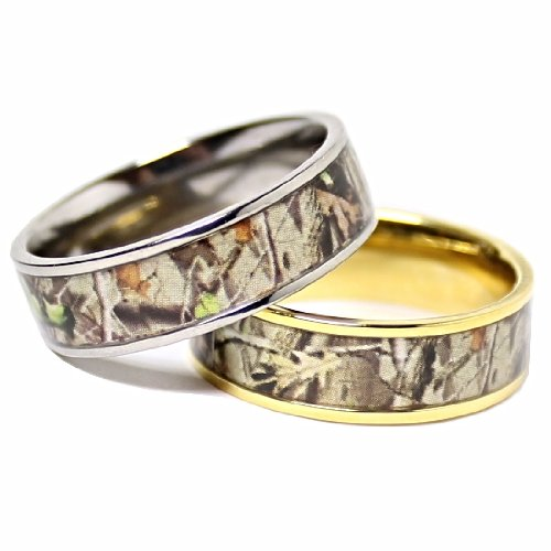 : womens camo wedding ring set
