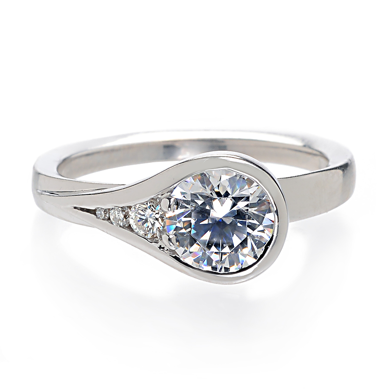 : bezel set diamond engagement ring
