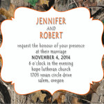 : camo and orange wedding invitations