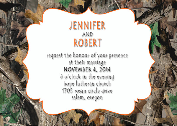camo and orange wedding invitations