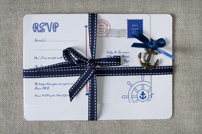 diy nautical wedding invitations